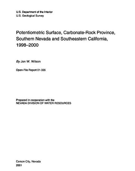 Potentiometric Surface  Carbonate rock Province  Southern Nevada and Southeastern California  1998 2000 PDF