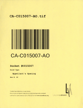 California. Court of Appeal (3rd Appellate District). Records and Briefs: C015007, Appellant's Opening