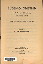 Eugenio Oneghin: lyric opera in three acts