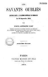 Les savants oubliés. Lecture faite à l'Académie impériale de médecine le 13 septembre 1853