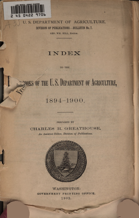 Yearbook of agriculture  index  1894 1900 PDF