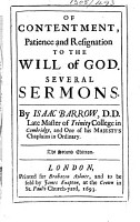 Of Contentment  Patience and Resignation to the Will of God     The second edition   With a portrait   PDF