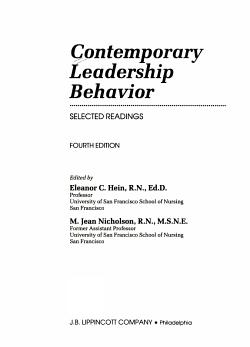 Contemporary Leadership Behavior PDF