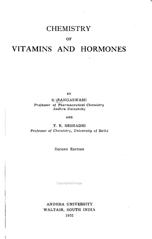Chemistry Of Vitamins And Hormones
