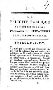 La félicité publique: précédée de la dissertation ... de Beardé de l'Abbaye