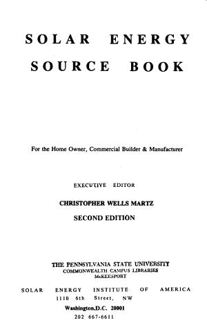 Solar Energy Source Book