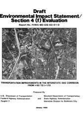 I-595 Construction Linking I-95 and I-170, Baltimore: Environmental Impact Statement