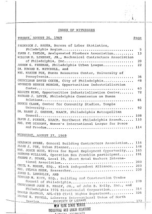 Public Hearing for the Purpose of Providing Information to be Used by the Department of Labor in Devising Definite Standards and Goals of Minority Manpower Utilization Pursuant to the Revised Philadelphia Plan PDF