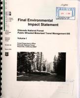 Eldorado National Forest  N F    Public Wheeled Motor Vehicle Travel Management PDF