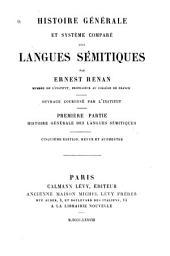 Histoire générale et système comparé des langues sémitiques: Volume1
