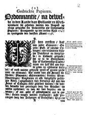 Gedruckte papieren. Ordonnantie, na dewelke in [...] Hollandt en Westvrieslandt sal geheeven werden den impost op eenige gedruckte [...] papieren: innegaande op den eersten april 1747
