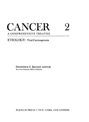 Cancer a Comprehensive Treatise 2 PDF