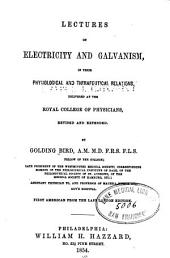 Lectures on electricity and galvanism