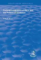 Political Languages of Race and the Politics of Exclusion PDF