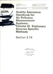 Quality assurance handbook for air pollution measurement systems PDF