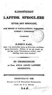 Ræonneret lappisk Sproglære efter den Sprogart som bruges af Fjældlapperne i Porsangerfjorden i Finmarken