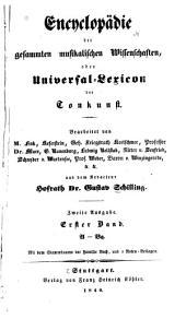 Encyclopädie der gesammten musikalischen Wissenschaften: oder Universal-Lexicon der Tonkunst, Band 1