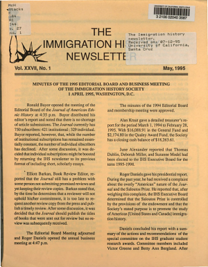 The Immigration History Newsletter PDF