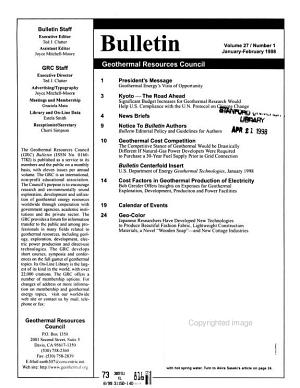 Geothermal Resources Council Bulletin PDF