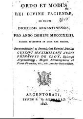 Ordo et modus rei divinæ faciendæ: in usum diœcesis Argentinensis, pro Anno Domini 1823, [1847, 1853, 1888].