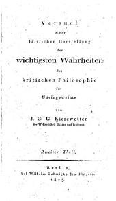 Darstellung der wichtigsten Wahrheiten der kritischen Philosophie für Uneingeweihte