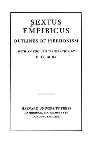Sextus Empiricus  Outlines of Pyrrhonism