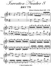Invention Number 8 Bwv 779 Easy Piano Sheet Music