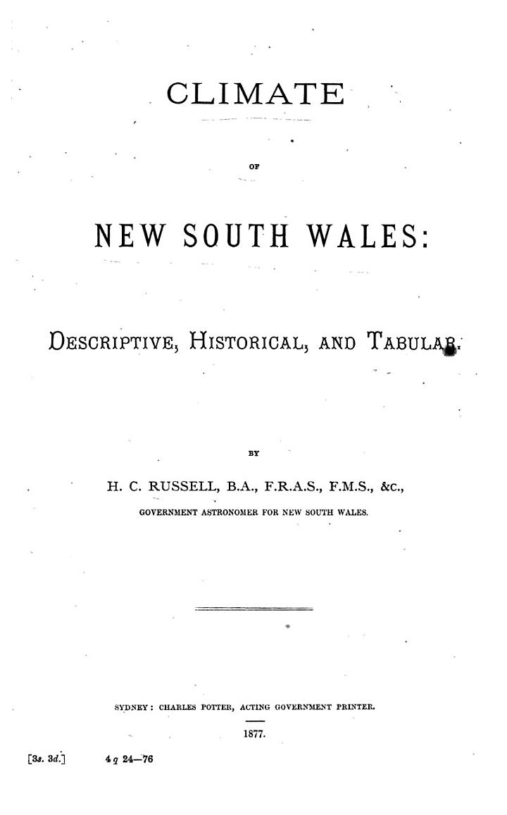 Climate of New South Wales: Descriptive, Historical, and Tabular