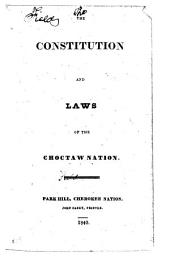 The Constitution and Laws of the Choctaw Nation