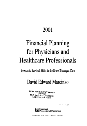2001 Financial Planning for Physicians and Healthcare Professionals PDF