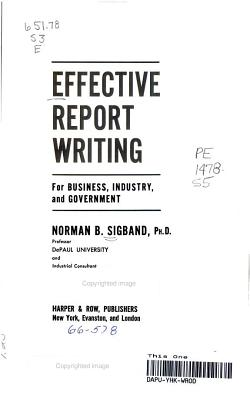 Effective Report Writing PDF