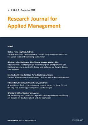Research Journal for Applied Management   Jg  1  Heft 2 PDF