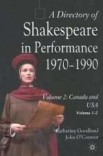 A Directory of Shakespeare in Performance 1970-1990