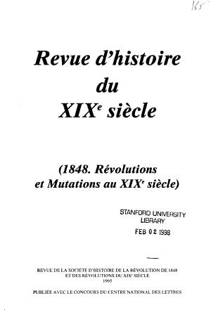 Revue Dhistoire Du Xixe Siecle