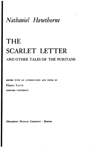 The Scarlet Letter And Other Tales Of The Puritans