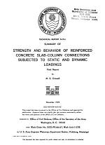 Strength and Behavior of Reinforced Concrete Slab-column Connections Subjected to Static and Dynamic Loadings