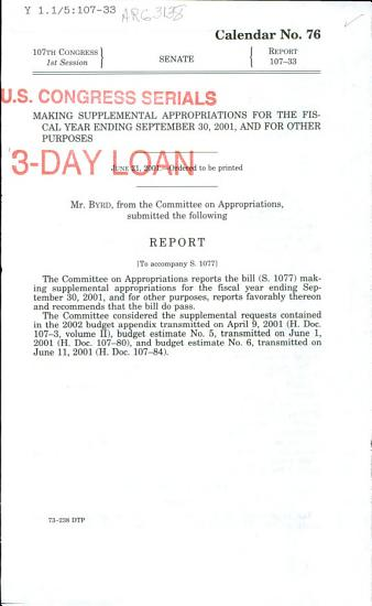 Making Supplemental Appropriations for the Fiscal Year Ending September 30  2001  and for Other Purposes PDF
