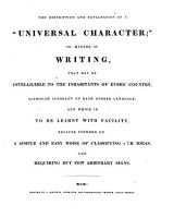 The description and explanation of a  universal character   or  manner of writing  that may be intelligible to the inhabitants of every country PDF