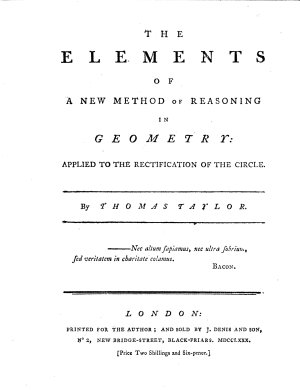 The elements of a new method of reasoning in geometry  applied to the rectification of the circle