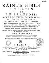 La Sainte Bible en françois et en latin avec des notes littéraires...tirées du commentaire de Calmet, de l'abbé de Vence