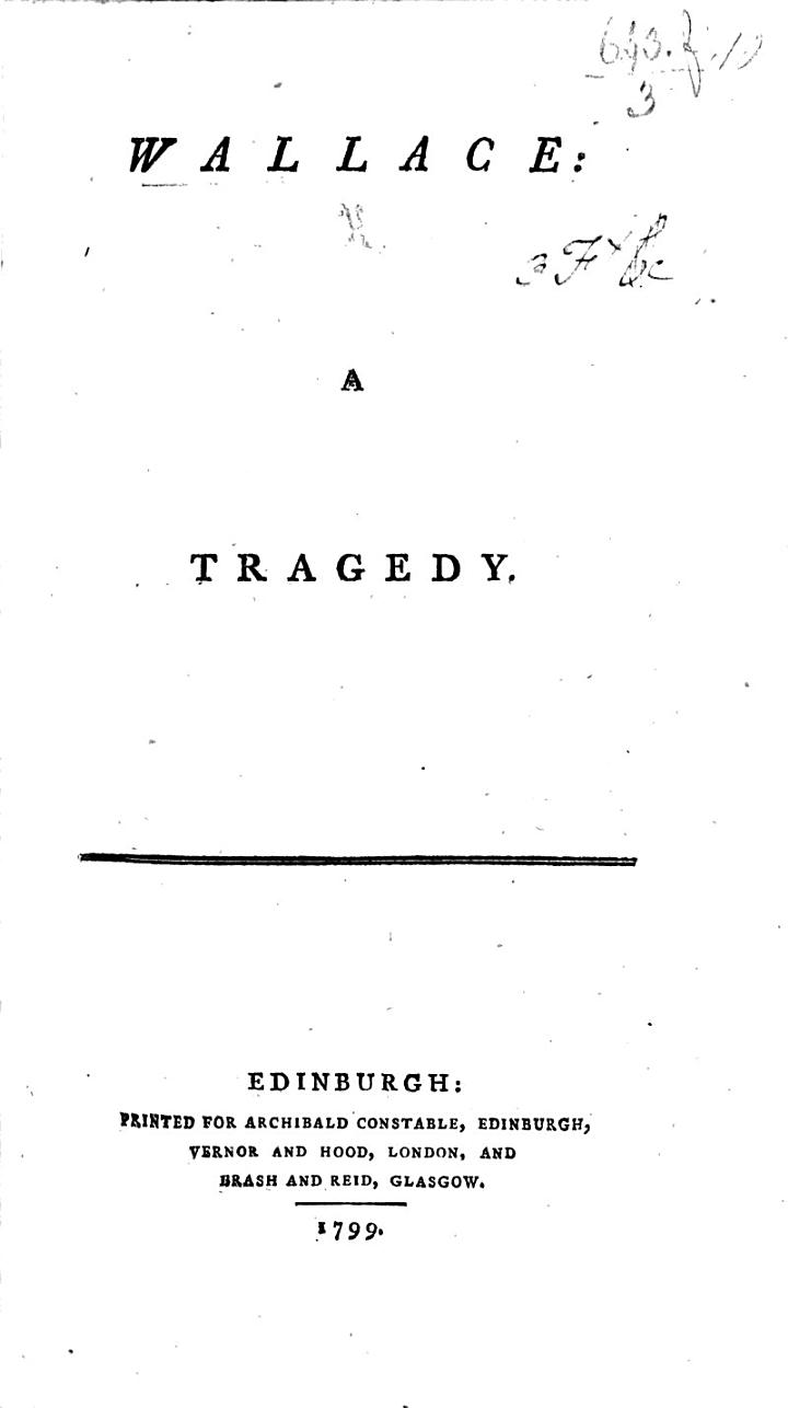 Wallace: a tragedy [by Robert Buchanan, Professor at Glasgow].