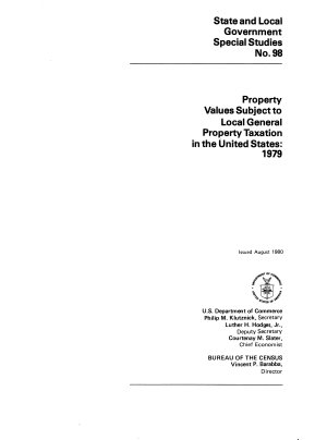 Property Values Subject to Local General Property Taxation in the United States