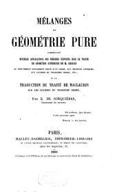 Mélanges de géométrie pure