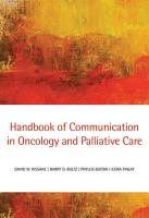 Handbook of Communication in Oncology and Palliative Care PDF
