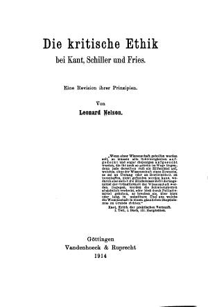 Die kritische Ethik bei Kant  Schiller und Fries PDF