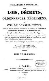 Collection complète des lois, décrets ordonnances, réglemens et avis du Conseil d'État: de 1788 à 1824 inclusivemen, par ordre chronologique : suivie d'une table analytique et raisonné des matières, Volume21