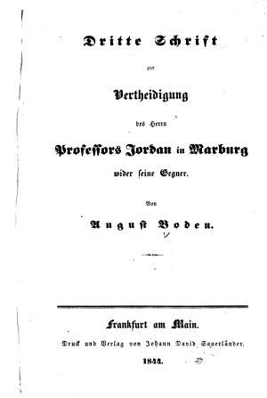 Dritte Schrift zur Vertheidigung des Herrn Professors Jordan in Marburg wider seine Gegner PDF
