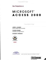 New Perspectives on Microsoft Access 2000 PDF
