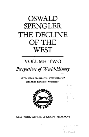 The Decline of the West  Perspectives of World history PDF
