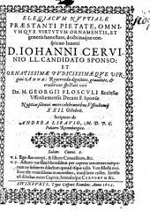 Elegiacum nuptiale ... Joanni Cervinio LL. Candidato ... scriptum
